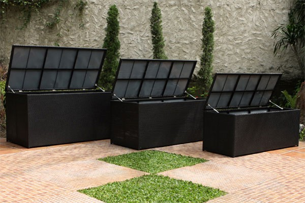 Rattan Cushion Box Black. Outdoor Rattan Cushion Box   Express Garden Storage