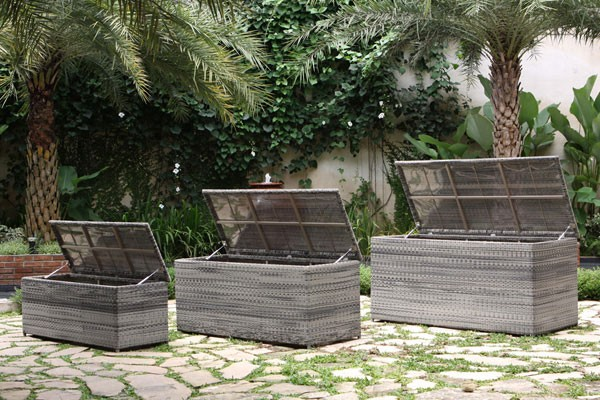 Rattan Cushion Box Random Black. Outdoor Rattan Cushion Box   Express Garden Storage